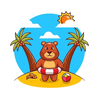 Schattige bruine beer die op het strand staat met een platte zwemring.