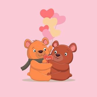 Schattige bruine beer verliefde paar