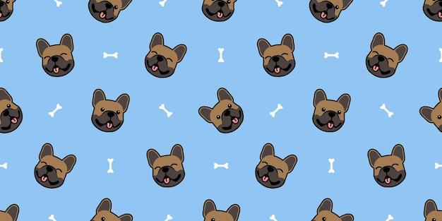 Schattige bruine franse bulldog gezicht cartoon naadloze patroon, vectorillustratie