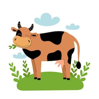 Schattige bruine koe staat in de wei. cartoon boerderijdieren, landbouw, rustiek. eenvoudige platte vectorillustratie op witte achtergrond met blauwe wolken en groen gras.