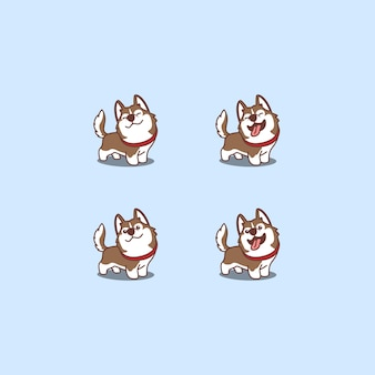 Schattige bruine siberische husky hond cartoon set