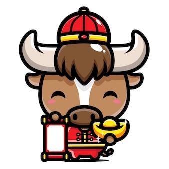 Schattige buffelkarakterontwerpen die chinese kostuums dragen