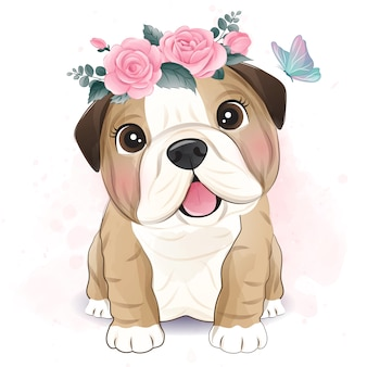 Schattige buldog weinig met bloemen illustratie
