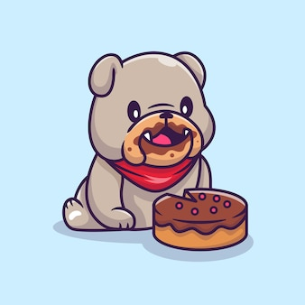 Schattige bulldog eten taart cartoon vectorillustratie. animal food concept geïsoleerde vector. flat cartoon stijl