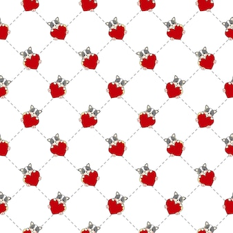 Schattige bulldog naadloze patroon. hond met hart. valentine thema dierlijke achtergrond. flat cartoon stijl.