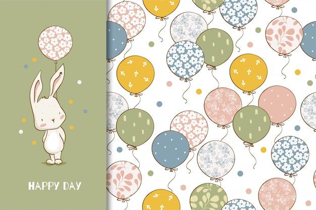 Schattige bunny stripfiguur met ballonnen. kinderen dierenkaart en naadloos patroon. hand getekend ontwerp illustratie.