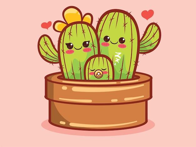 Schattige cactus familie stripfiguur en illustratie.