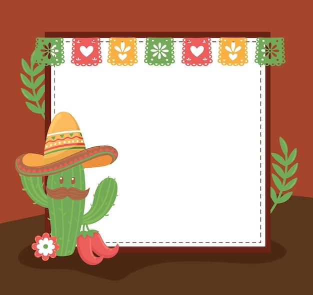 Schattige cactus met mexicaanse hoed