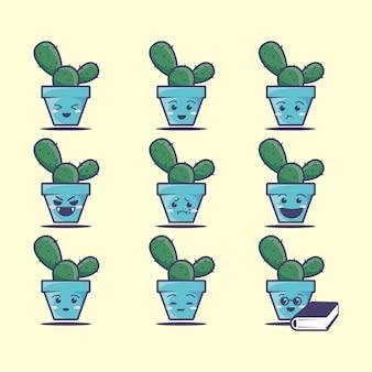 Schattige cactus pictogrammenset, illustratie. schoon pictogram concept. platte cartoon stijl