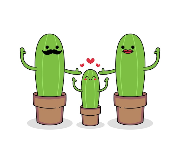 Schattige cactus stripfiguur van gelukkige familie set