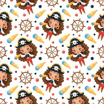 Schattige cartoon afro-amerikaanse piraten meisjes naadloze patroon
