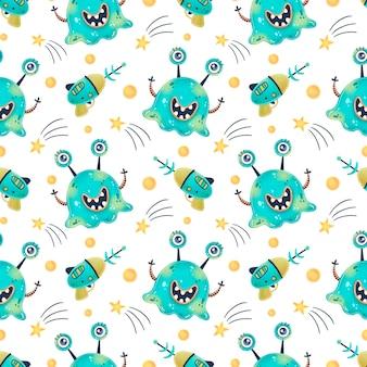 Schattige cartoon aliens naadloze patroon. ufo-patroon. schattige monsters naadloze patroon.