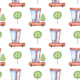 Schattige cartoon auto naadloze patroon. rode pick-up en bomen naadloos patroon.