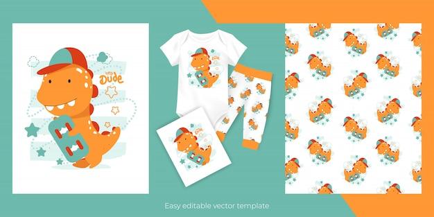 Schattige cartoon baby dinosaurus met skateboard en naadloze patroon ontwerp voor kinderen