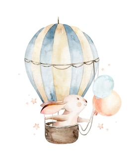 Schattige cartoon baby haas dier hand getekende aquarel konijn illustratie met luchtballon