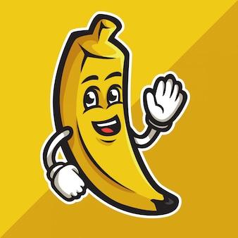 Schattige cartoon banaan zijn hand zwaaien