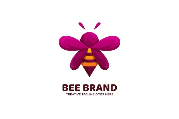 Schattige cartoon bee logo sjabloon