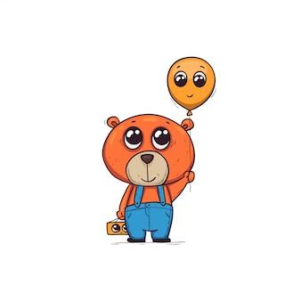 Schattige cartoon beer met een ballon en een cadeau