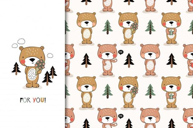 Schattige cartoon beer. wenskaart en kinderen naadloze patroon set. hand getekend ontwerp illustratie.