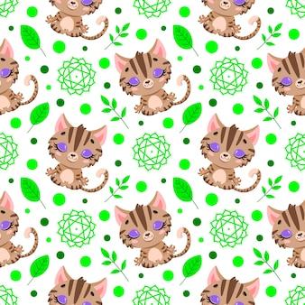 Schattige cartoon boerderij dieren meditatie naadloze patroon. yoga dieren patroon. kat mediteert patroon.