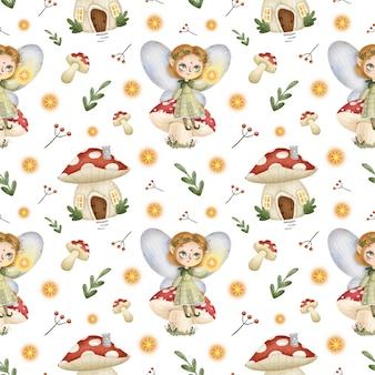 Schattige cartoon bos kleine feeën naadloze patroon. sprookje meisje elf zittend op een paddestoel, vliegenzwam huis.
