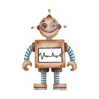 Schattige cartoon bruine robot met grote ogen op een witte achtergrond