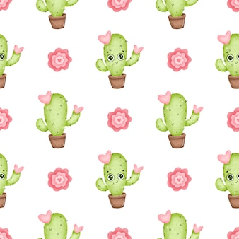 Schattige cartoon cactus naadloze patroon. cartoon cactussen met ogen, roze bloemen en harten op een witte achtergrond