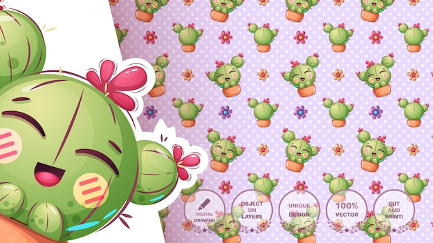 Schattige cartoon cactus