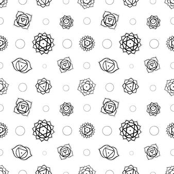 Schattige cartoon chakra's yantra naadloze patroon