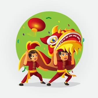 Schattige cartoon chinees nieuwjaar leeuwendans