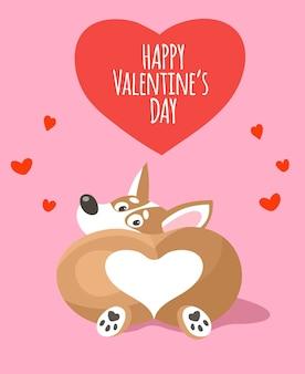 Schattige cartoon corgi zitten met zijn rug. buit van een hond in de vorm van een hart.
