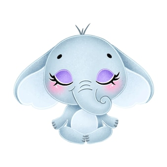 Schattige cartoon dieren mediteren. olifant meditatie.