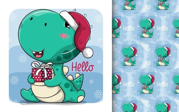 Schattige cartoon dinosaurus met kerstmuts en geschenkdoos