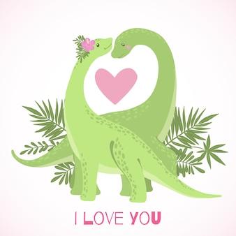 Schattige cartoon dinosaurussen in liefde geïsoleerd op wit. Premium Vector