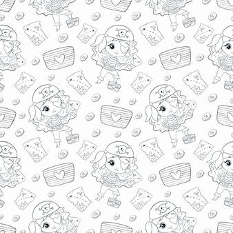 Schattige cartoon doodle piraten meisjes naadloze patroon. piraten kleurplaat