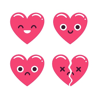 Schattige cartoon emoticon harten set, blij en verdrietig en gebroken. moderne vlakke stijl hart illustratie.