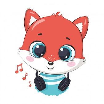 Schattige cartoon fox jongen met koptelefoon luisteren naar muziek