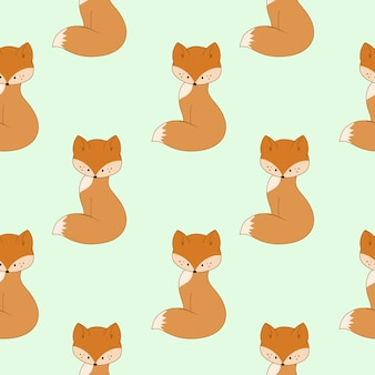 Schattige cartoon fox patroon op groene achtergrond. naadloze eindeloze achtergrond om af te drukken, omslag, inpakpapier, maatwerk. kinder vectorillustratie.