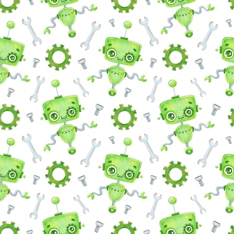 Schattige cartoon groene robot naadloze patroon
