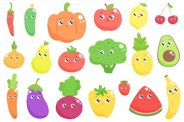 Schattige cartoon groenten en fruit. vlak