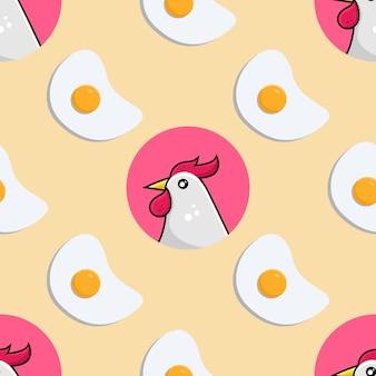 Schattige cartoon haan met zonnige kant naar boven eieren patroon premium vector