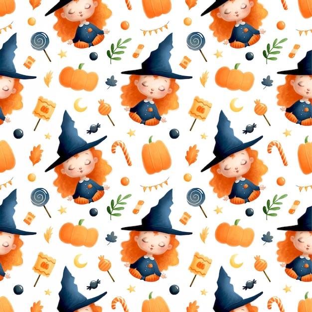 Schattige cartoon halloween heks naadloze patroon