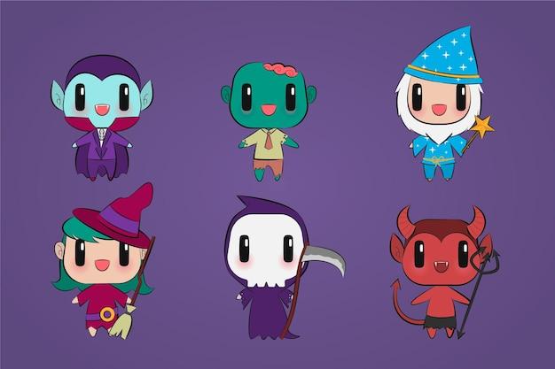 Schattige cartoon halloween karakter pop collectie hand getekende platte illustratie