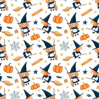 Schattige cartoon halloween kleine heks naadloze patroon