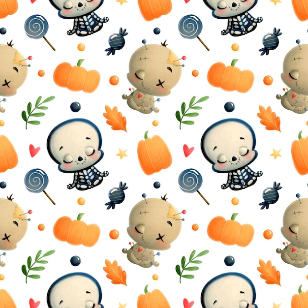Schattige cartoon halloween naadloze patroon