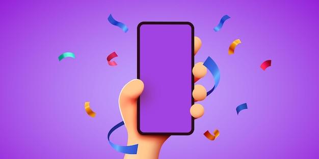 Schattige cartoon hand met mobiele smartphone met feestelijke confetti vliegen rond winnaar concept Premium Vector