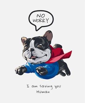 Schattige cartoon hond in vliegende held kostuum illustratie