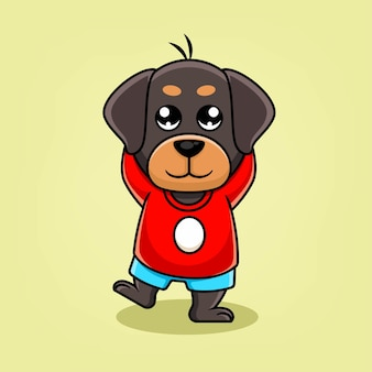 Schattige cartoon hond mascotte illustratie