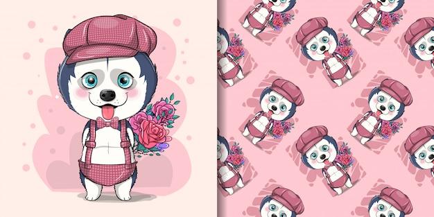 Schattige cartoon husky puppy met bloemen