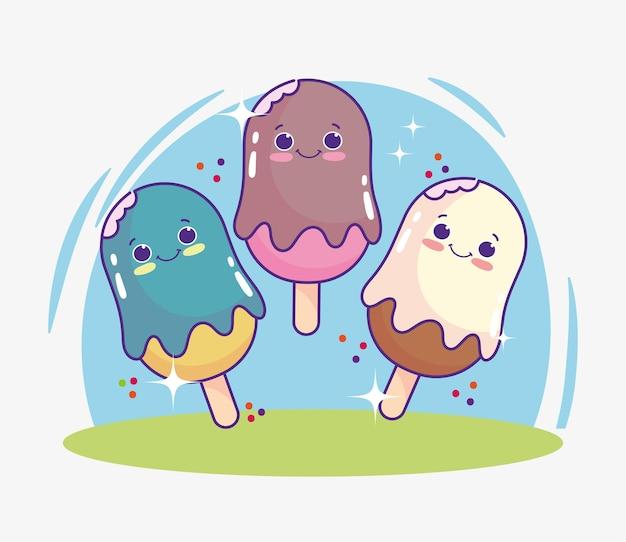 Schattige cartoon ijsjes